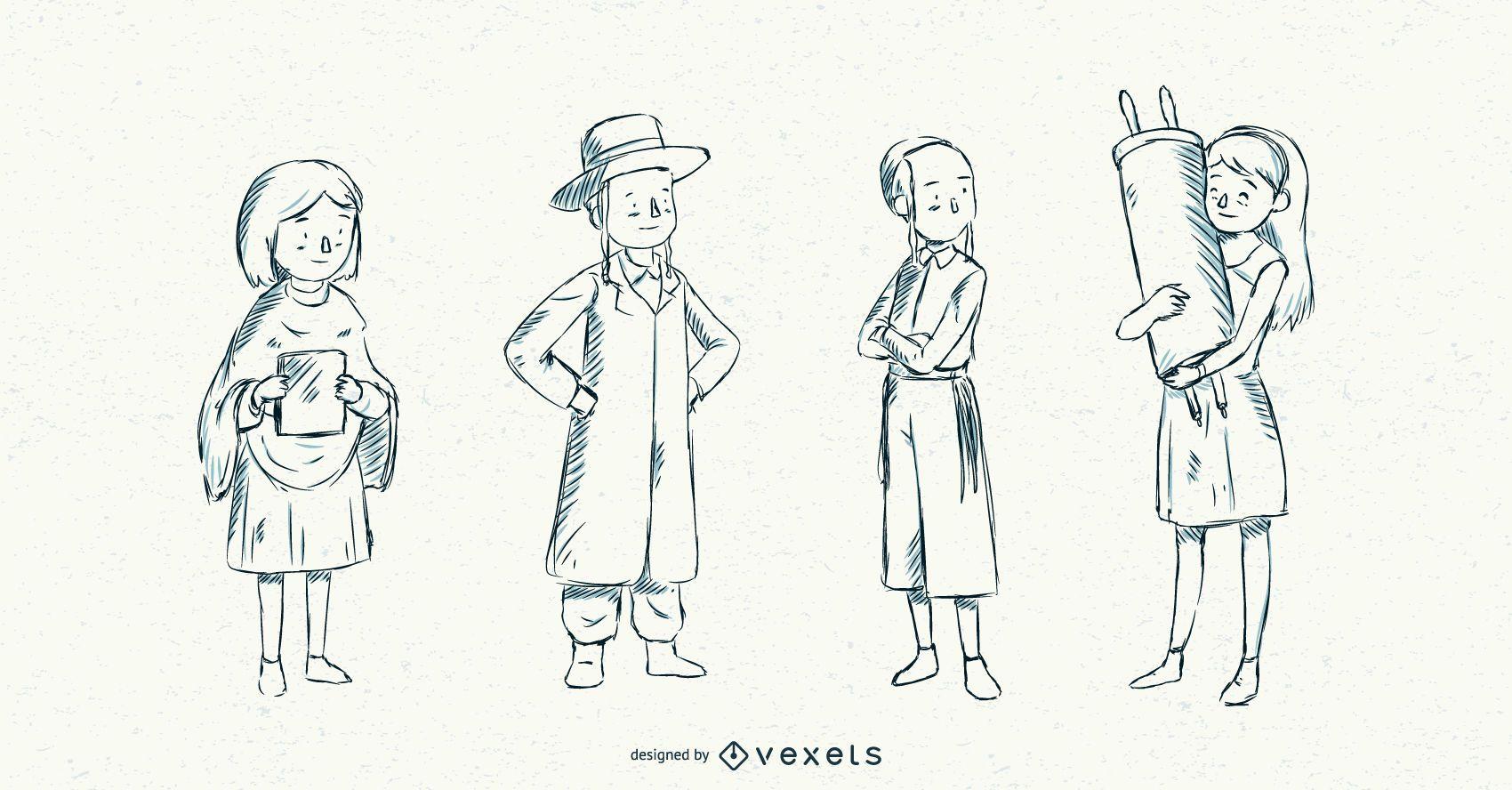 Jewish Children Stroke Illustration Pack