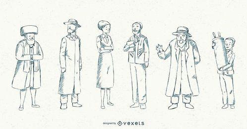 Colección de ilustración de trazo de pueblo judío