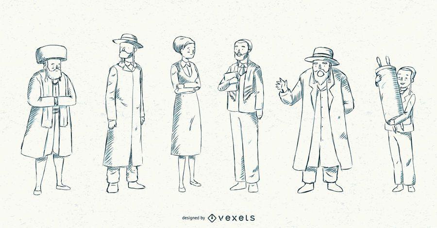 Jewish People Stroke Illustration Collection