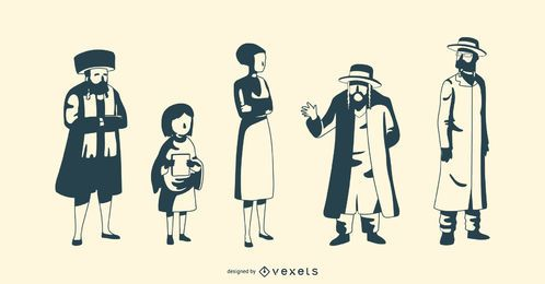 Jewish People Silhouette Vector Pack