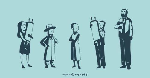 Coleção de vetores de silhueta de pessoas judias