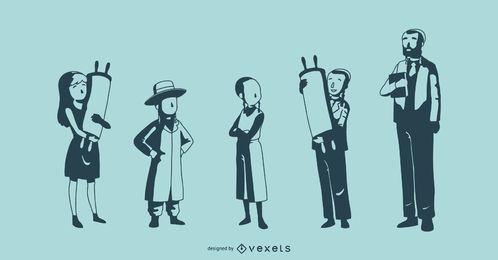 Jewish People Silhouette Vector Collection
