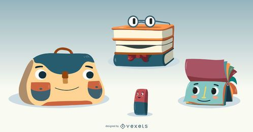 Cute School Supplies Vector Set