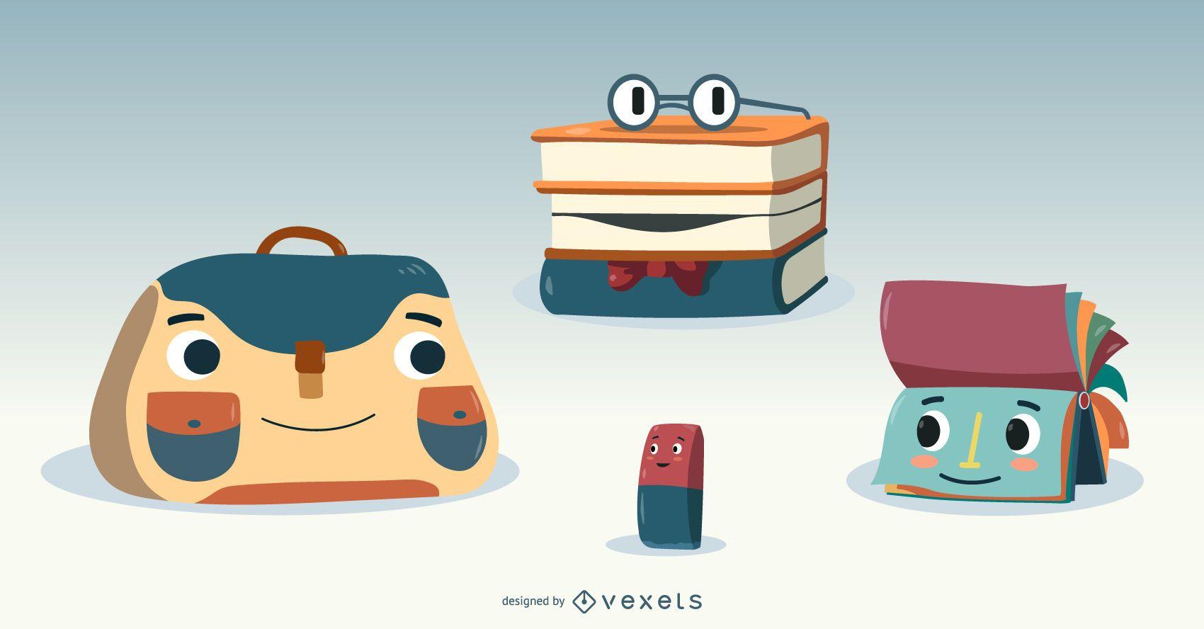 Cute School Supplies Vector Set