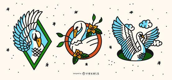 Conjunto de diseño de tatuaje Swan Old School