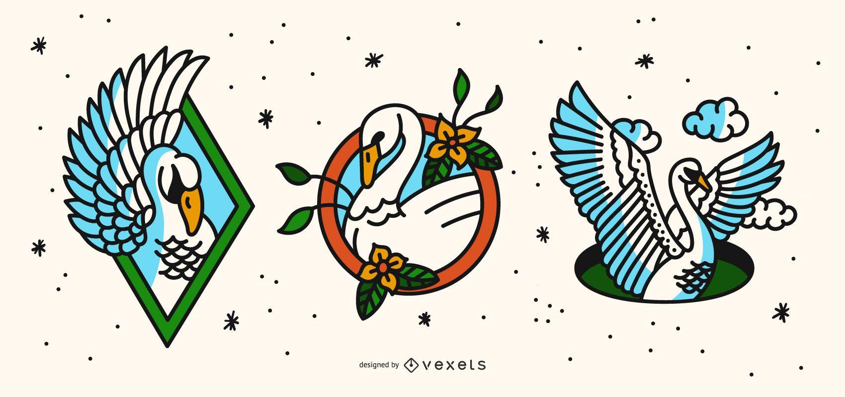 Swan Old School Tattoo Design Set
