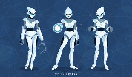 Pacote de vetores de robôs femininos