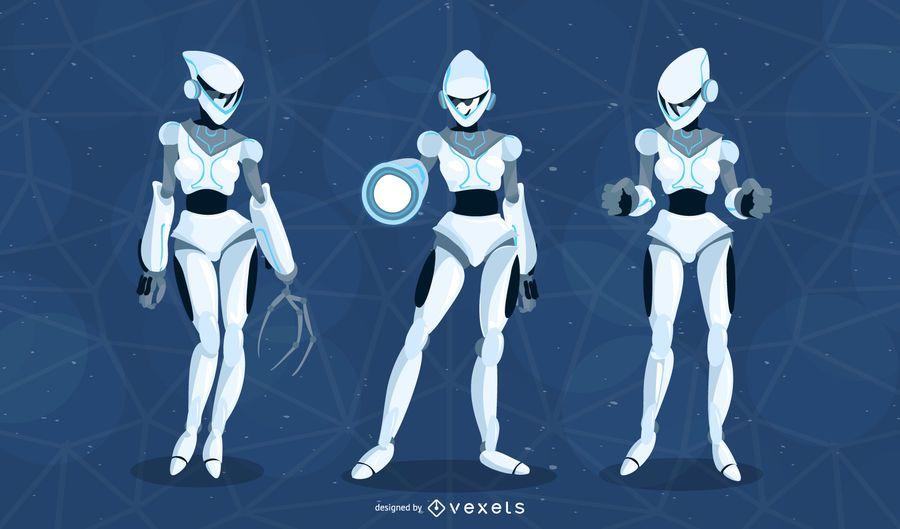 Paquete de vectores de robot femenino