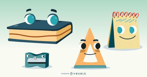 School Materials Vector Set
