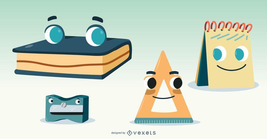 Conjunto de vectores de materiales escolares