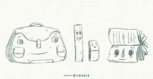 Conjunto de desenhos animados de elementos da escola amigável