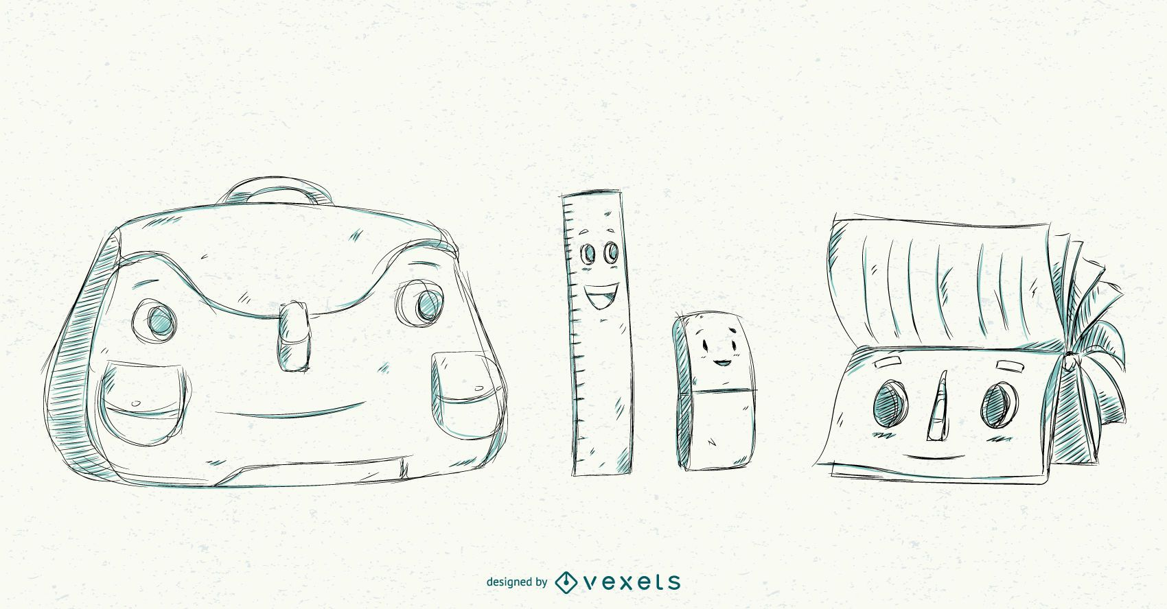 Conjunto de dibujos animados de elementos escolares amigables