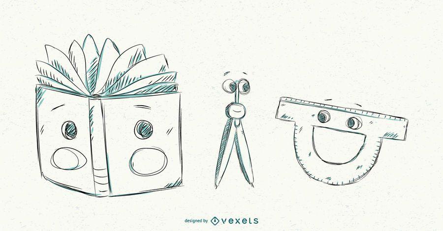 Conjunto de desenhos animados de material escolar