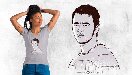 Stilisierter Mann-T-Shirt Entwurf
