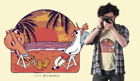 Diseño de camiseta Unicorn and Flamingo Beach