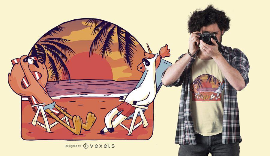 Projeto do t-shirt da praia do unicórnio e do flamingo