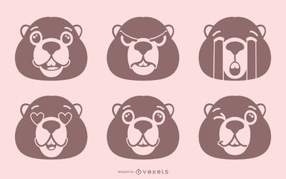 Murmeltier Emoji Set