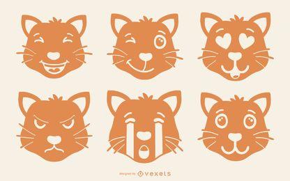 Conjunto de emoji gato naranja