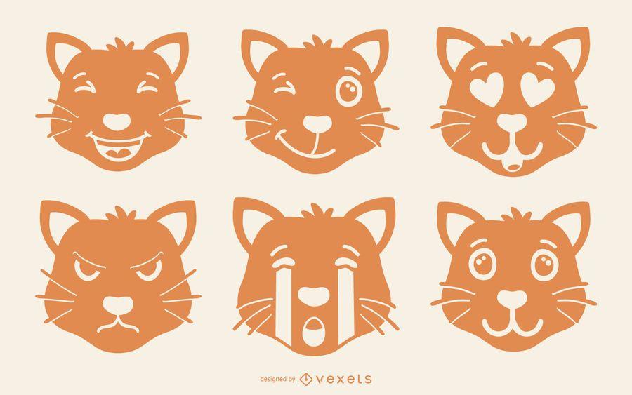Conjunto de Emoji Gato Laranja