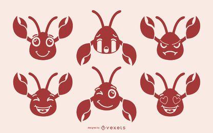 Niedliche Krabbe Emoji Sammlung