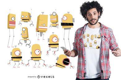 Diseño de camiseta de familia robot.