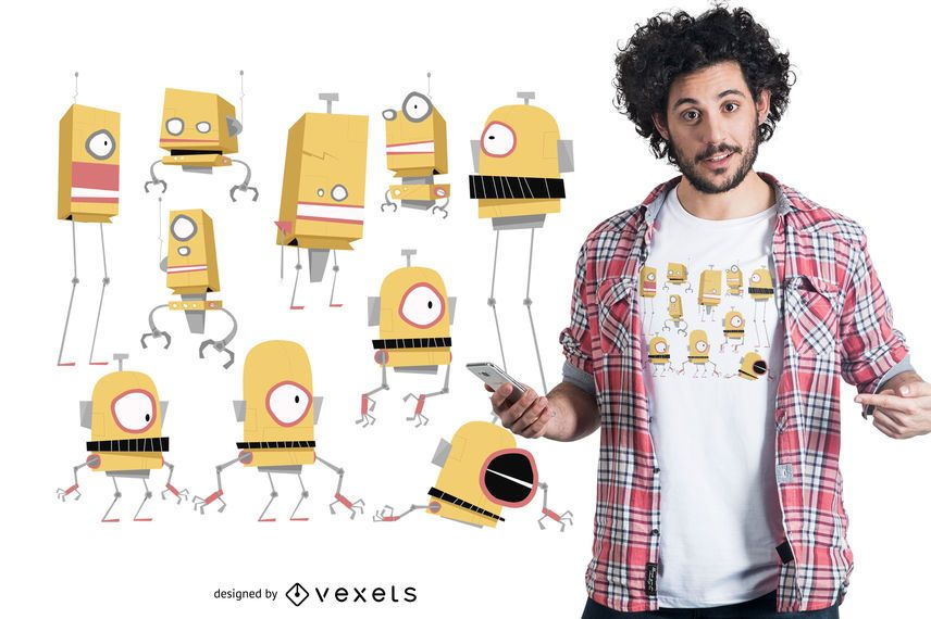 Robot family t-shirt design