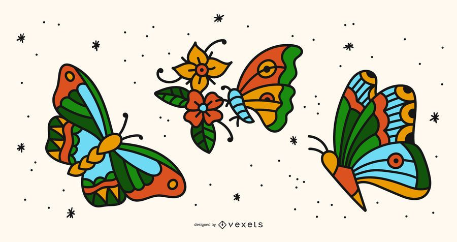 Colorful butterfly tattoo set