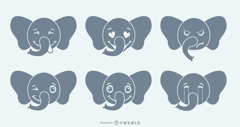 Elefant Emoji Set