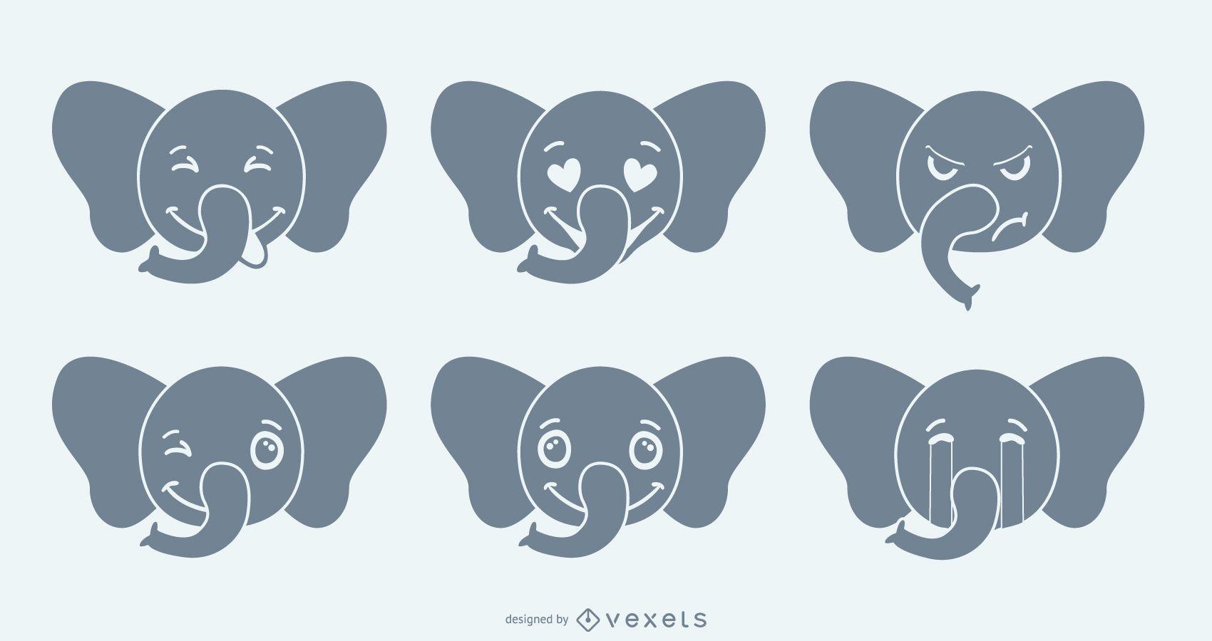 Conjunto de emoji de elefante