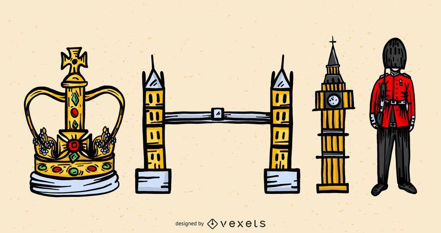 London Reise Vektor Set
