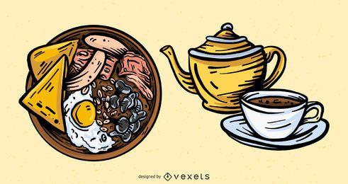 Conjunto de elementos de comida de Inglaterra