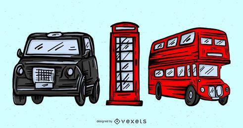Conjunto de elementos culturales de Londres.