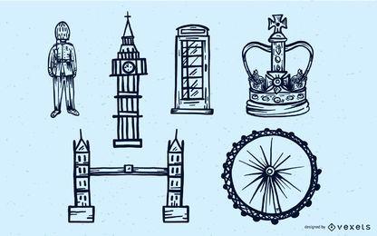 Conjunto de vetores de curso de viagem para Londres