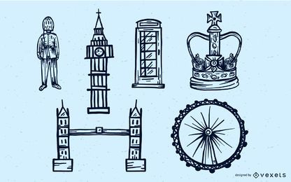 London Travel Stroke Vector Set