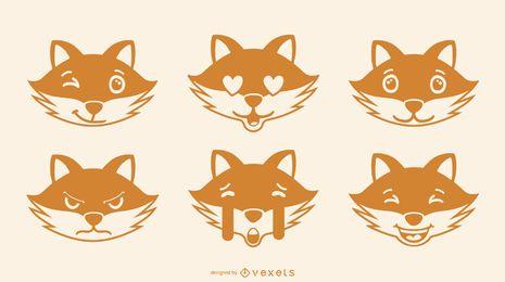 Fox emoji conjunto de vectores