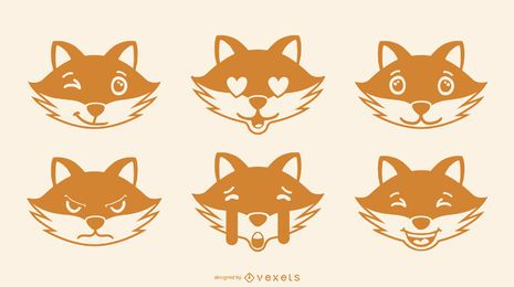 Fox emoji vector set