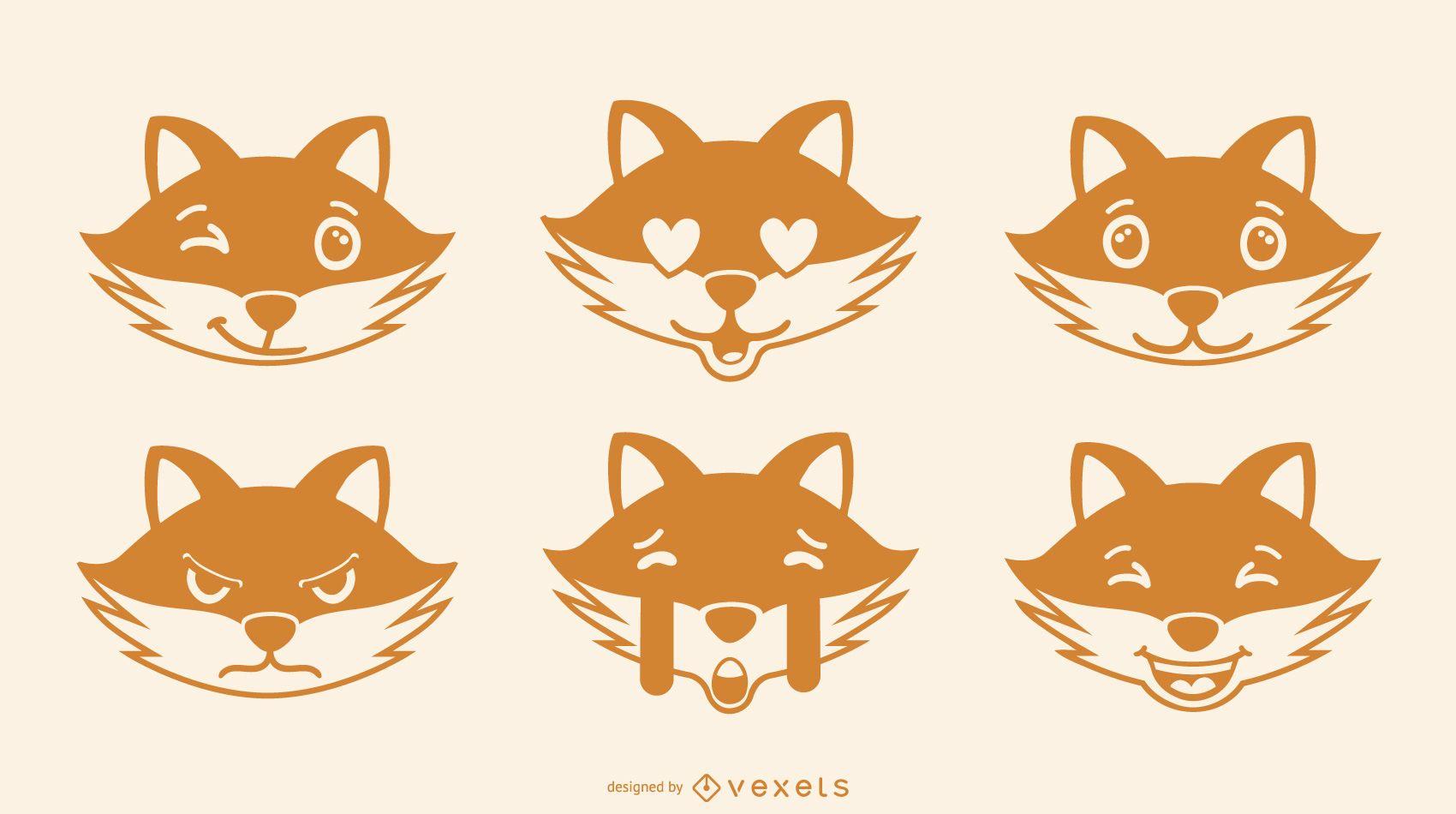 Fox emoji vector set