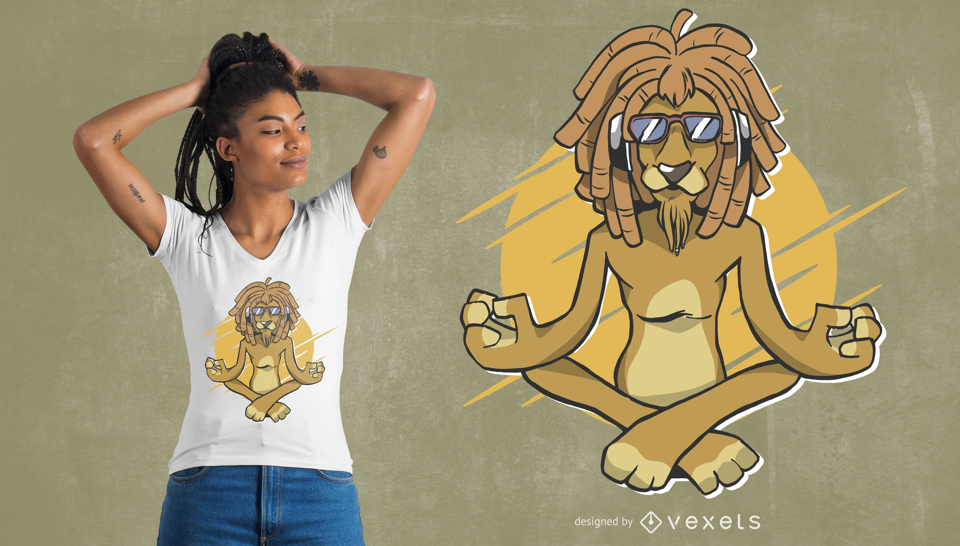 Rasta lion meditating t-shirt design
