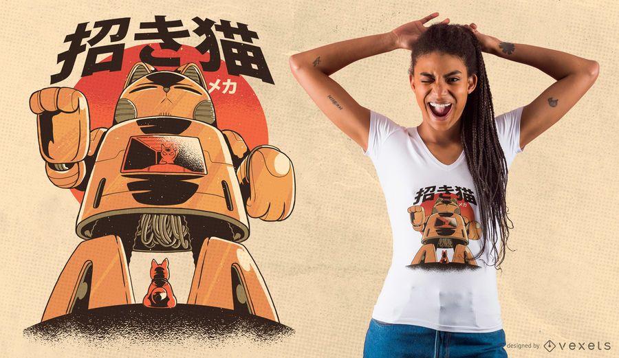 Diseño de camiseta robot gato mecha.