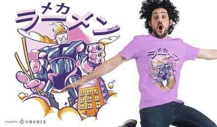Diseño de camiseta robot ramen mecha.