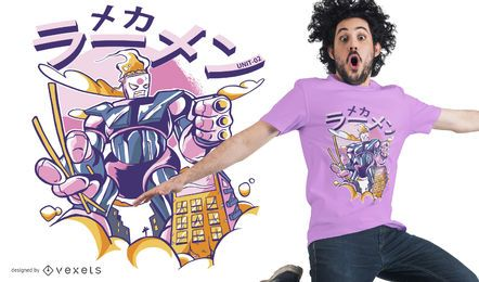 Projeto do t-shirt do robô do mecha do Ramen