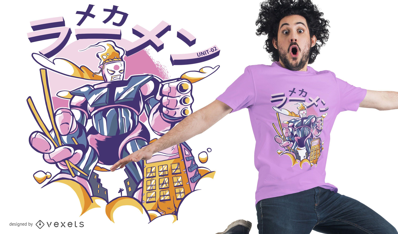 Ramen mecha robot t-shirt design