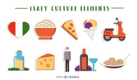Coleção de elementos culturais da Itália