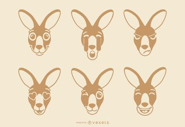 Känguru-Emoji-Set