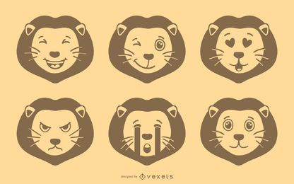 Conjunto de vetores de emoji de leão