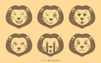 Löwe Emoji Vektor festgelegt