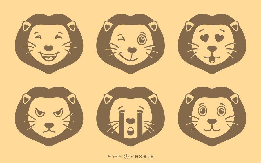 Conjunto de vetores de leão Emoji