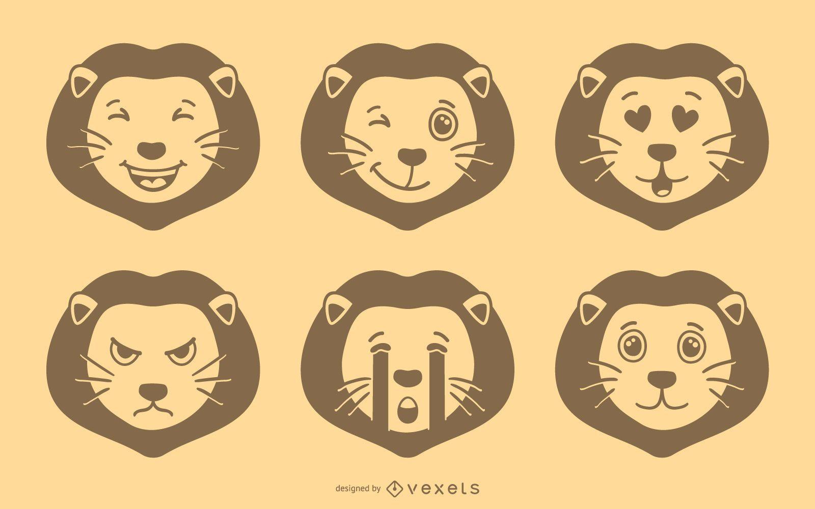 Lion Emoji Vector Set