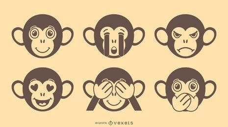 Affe Emoji Vektor Set