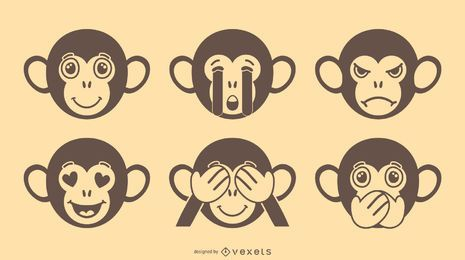 Monkey Emoji Vector Set